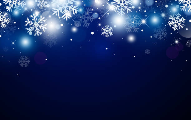ilustrações de stock, clip art, desenhos animados e ícones de christmas background design of snowflake and bokeh with light effect vector illustration - inverno