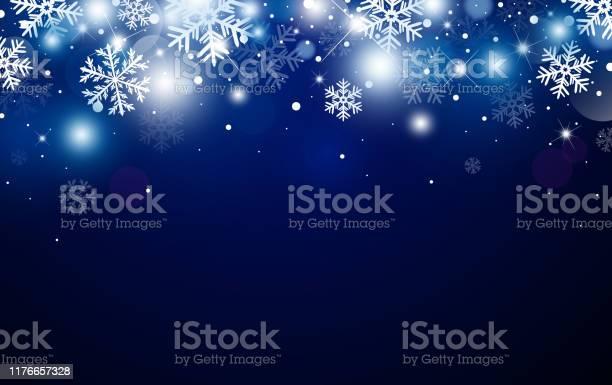 Weihnachten Hintergrunddesign Von Schneeflocke Und Bokeh Mit Lichteffekt Vektorillustration Stock Vektor Art und mehr Bilder von Abstrakt