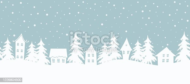 istock Christmas background. Fairy tale winter landscape. Seamless border 1226804500