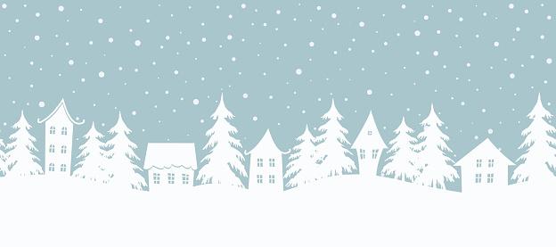 Christmas background. Fairy tale winter landscape. Seamless border
