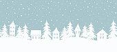istock Christmas background. Fairy tale winter landscape. Seamless border 1226804500