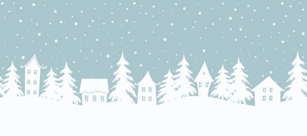 Christmas background. Fairy tale winter landscape. Seamless border Christmas background. Fairy tale winter landscape. Seamless border. There are white houses and fir trees on a gray blue background. Winter village. Vector illustration winter stock illustrations