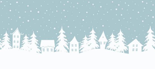 ilustrações de stock, clip art, desenhos animados e ícones de christmas background. fairy tale winter landscape. seamless border - background christmas snow