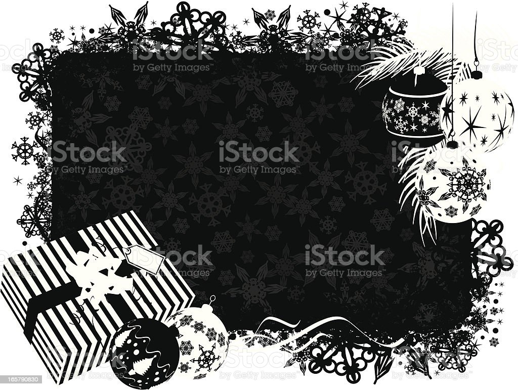 Christmas Background frame in black and white Horizontal royalty-free stock vector art