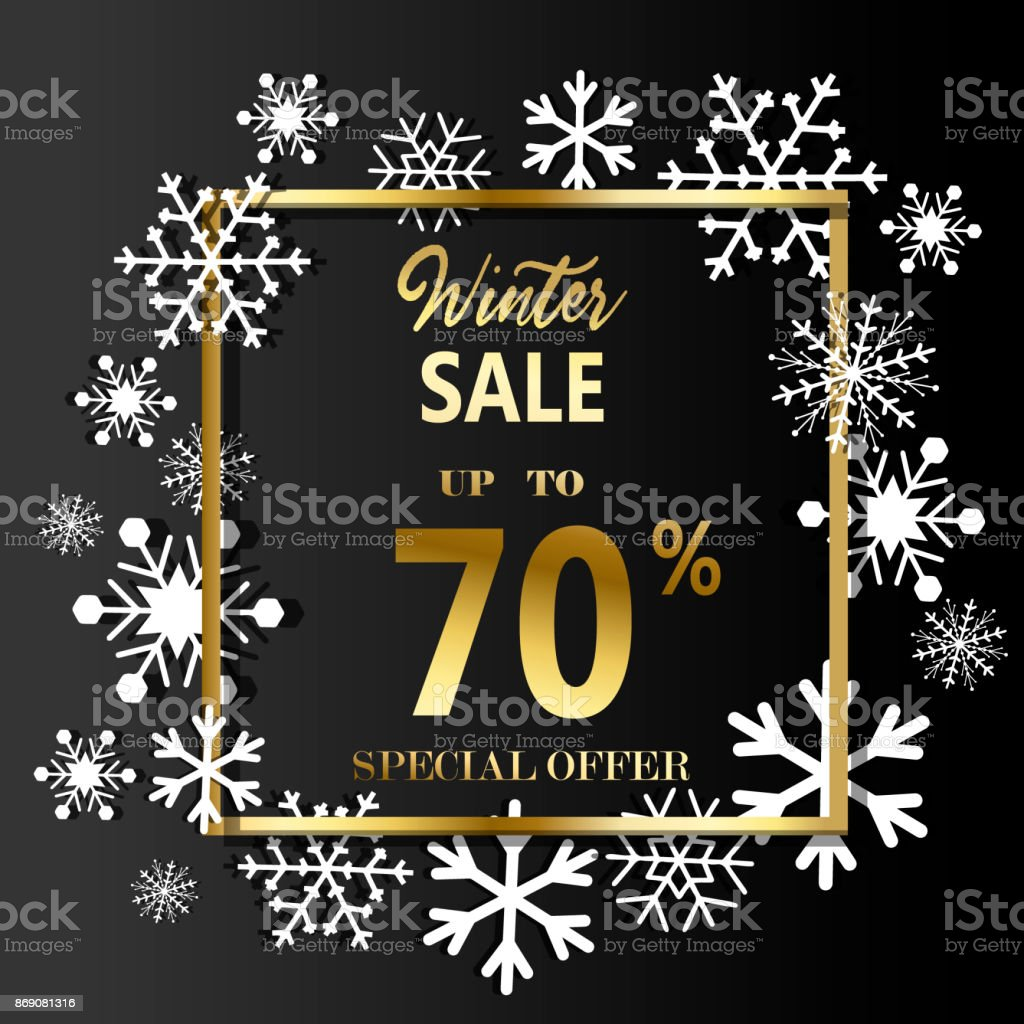 Christmas background. Frame made of snowflakes with space for text vector art illustration
