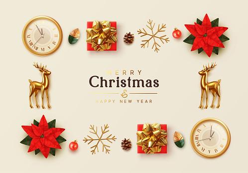 Christmas background. General view flat, flower red Poinsettia flor de Navidad. Symbol Christmas Flower Star Euphorbia pulcherrima. gift box, gold snowflake, Xmas ball, old clock, Gold metal Reindeer
