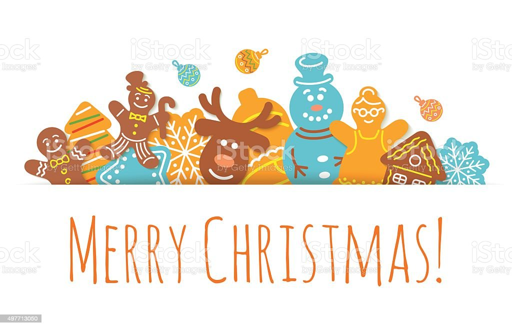 Christmas Background Gingerbread Cookies Horizontal Header Banner vector art illustration