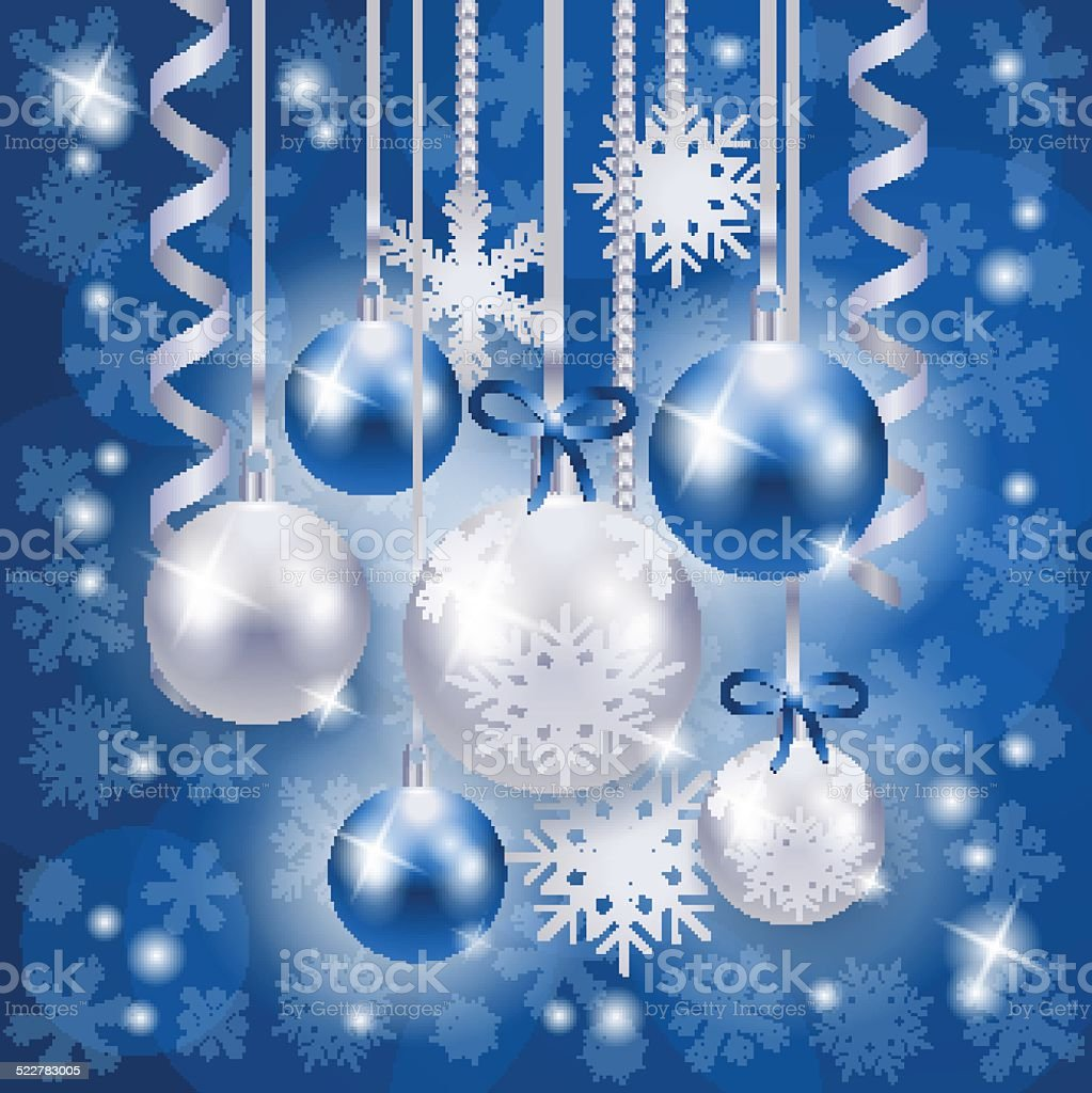 Christmas Background In Blue And Silver On Snowflakes Royalty Free
