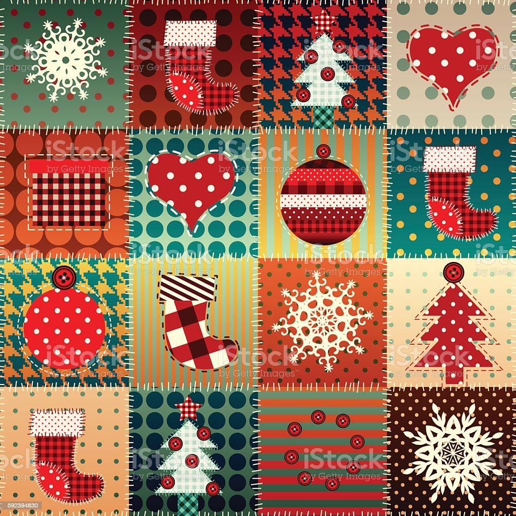 Christmas background in patchwork style. vector art illustration