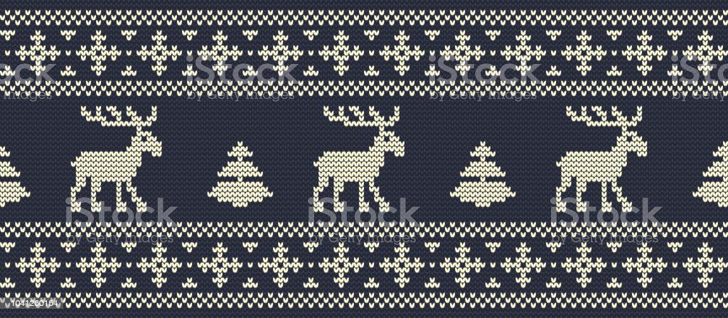 Christmas Background Knitted Pattern With Deers On A Navy Background