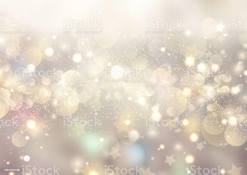 Christmas background of bokeh lights and stars - Royalty-free 2019 arte vetorial