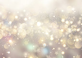 Decorative Christmas background of bokeh lights and stars
