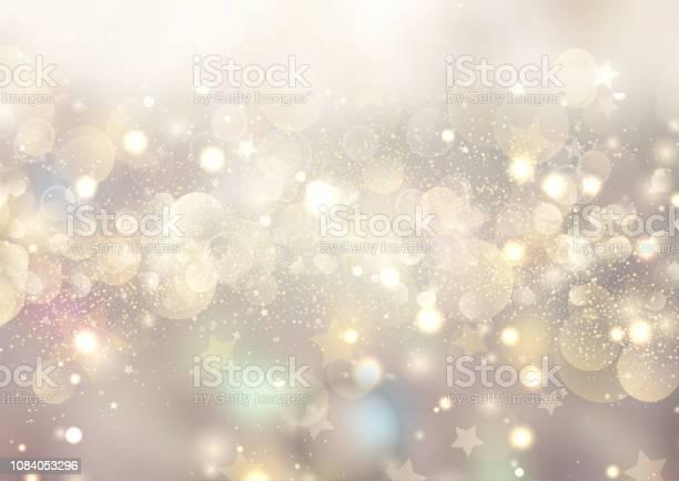 Christmas Background Of Bokeh Lights And Stars - Arte vetorial de stock e mais imagens de 2019