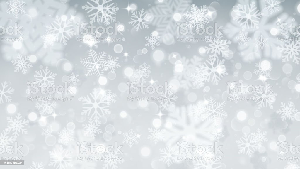 Christmas background of fuzzy and focused snowflakes vector art illustration