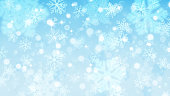 Christmas background with white blurred and clear snowflakes on light blue background. Big fuzzy and clear small snowflakes. Christmas vector illustration of beautiful snowflakes. Vector illustrations. EPS10 and JPG are available