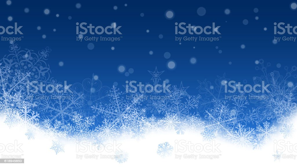 Christmas background of snowflakes and snowdrifts vector art illustration