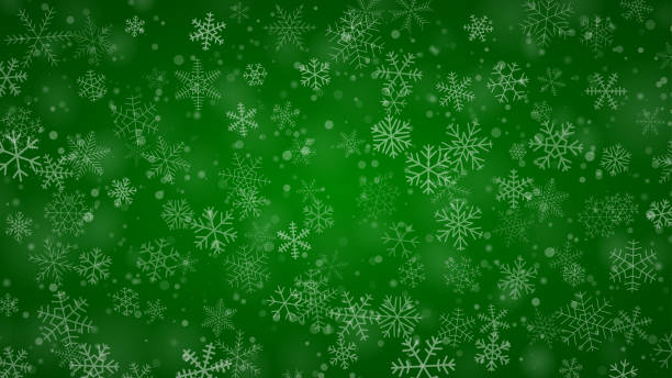 Christmas background of snowflakes Christmas background of snowflakes of different shapes, sizes and transparency in green colors christmas backgrounds stock illustrations