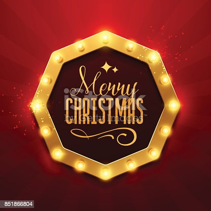 Christmas Background Retro Light Sign Stock Vector Art More Images Of Arts Culture And Entertainment 851866804
