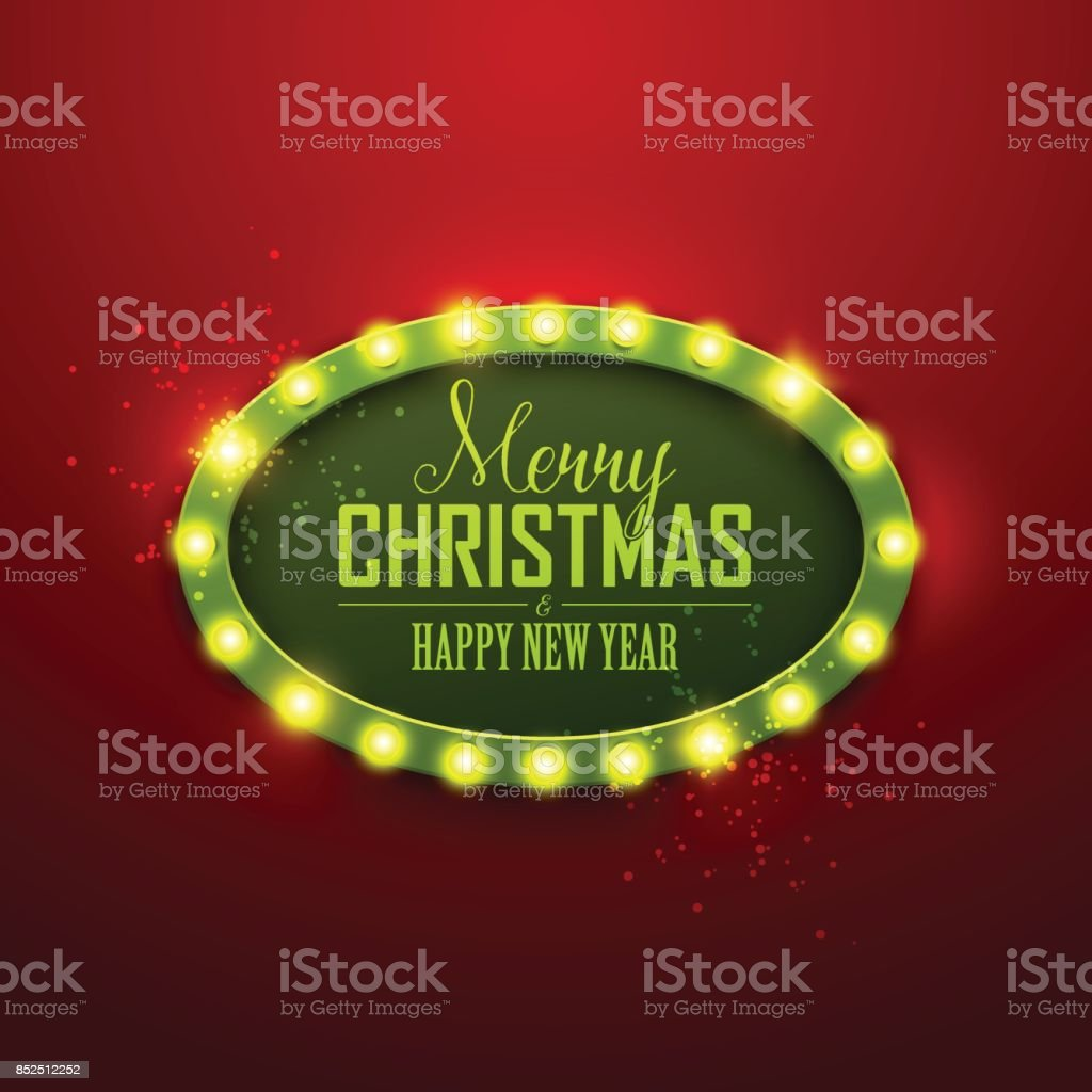 Christmas Background Retro Light Sign Royalty Free