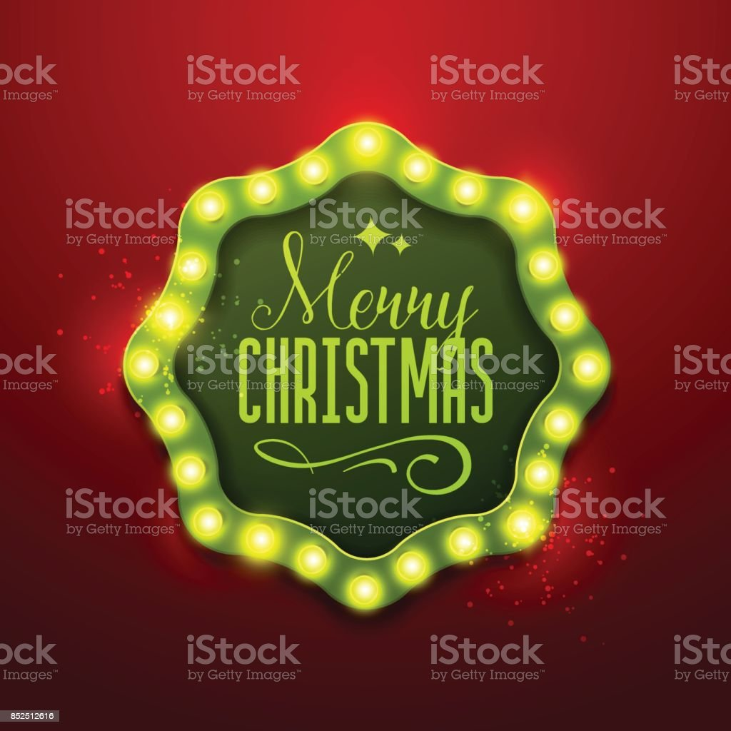 Christmas Background Retro Light Sign Royalty Free