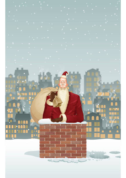 christmas background [santa claus in the chimney] - old man smiling backgrounds stock illustrations, clip art, cartoons, & icons