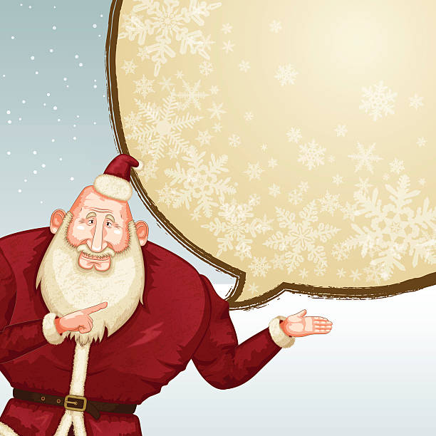 christmas background [santa claus talking] - old man standing background stock illustrations, clip art, cartoons, & icons