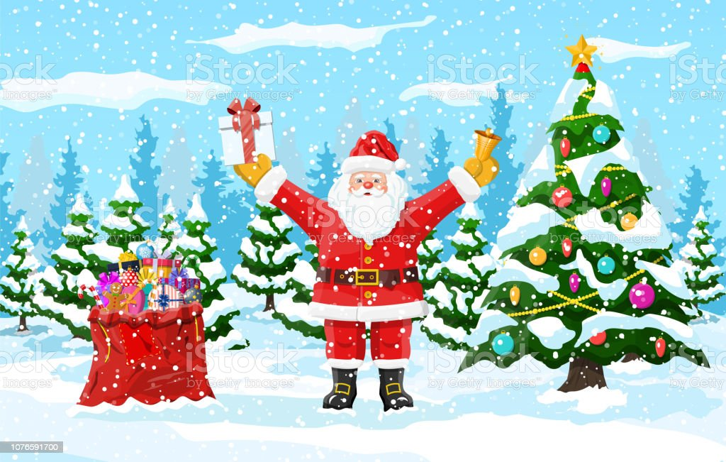 christmas background santa claus with bag gifts stock illustration download image now istock christmas background santa claus with bag gifts stock illustration download image now istock