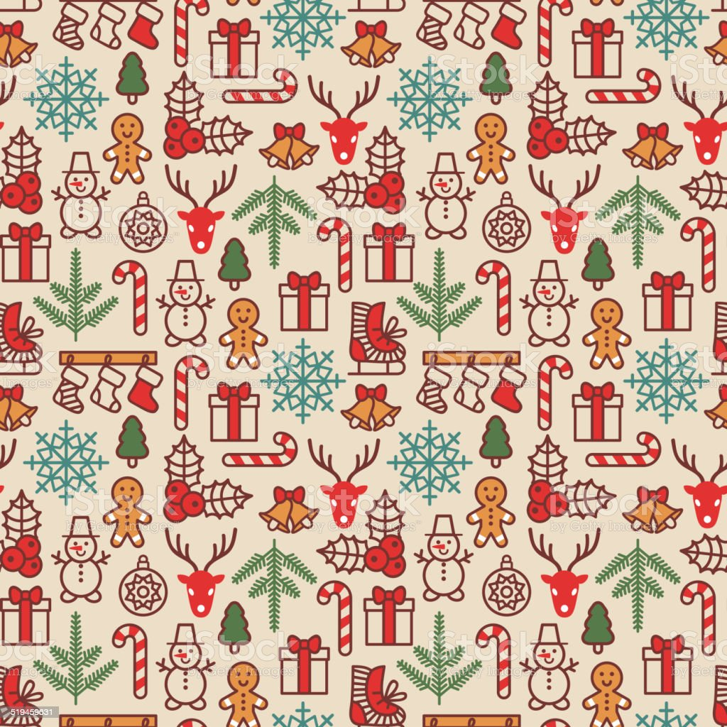 Christmas background, seamless tiling. Vector illustration. vector art illustration