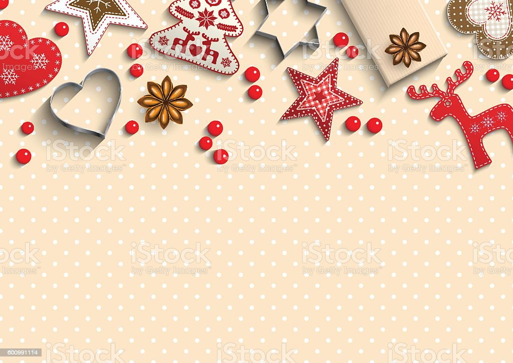 Christmas background, small scandinavian styled decorations lying on polka dot vector art illustration