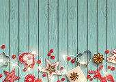 Christmas background, small scandinavian styled decorations lying on blue wooden