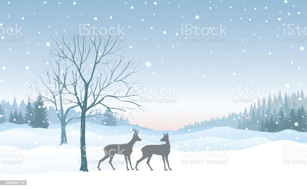christmas background snow winter landscape skyline with deers retro vector id1096650178