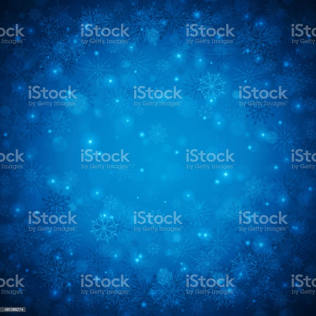 Christmas background snowflakes with lights vector art illustration