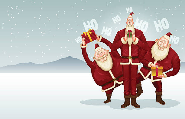 christmas background [trio of santa claus] - old man standing background stock illustrations, clip art, cartoons, & icons