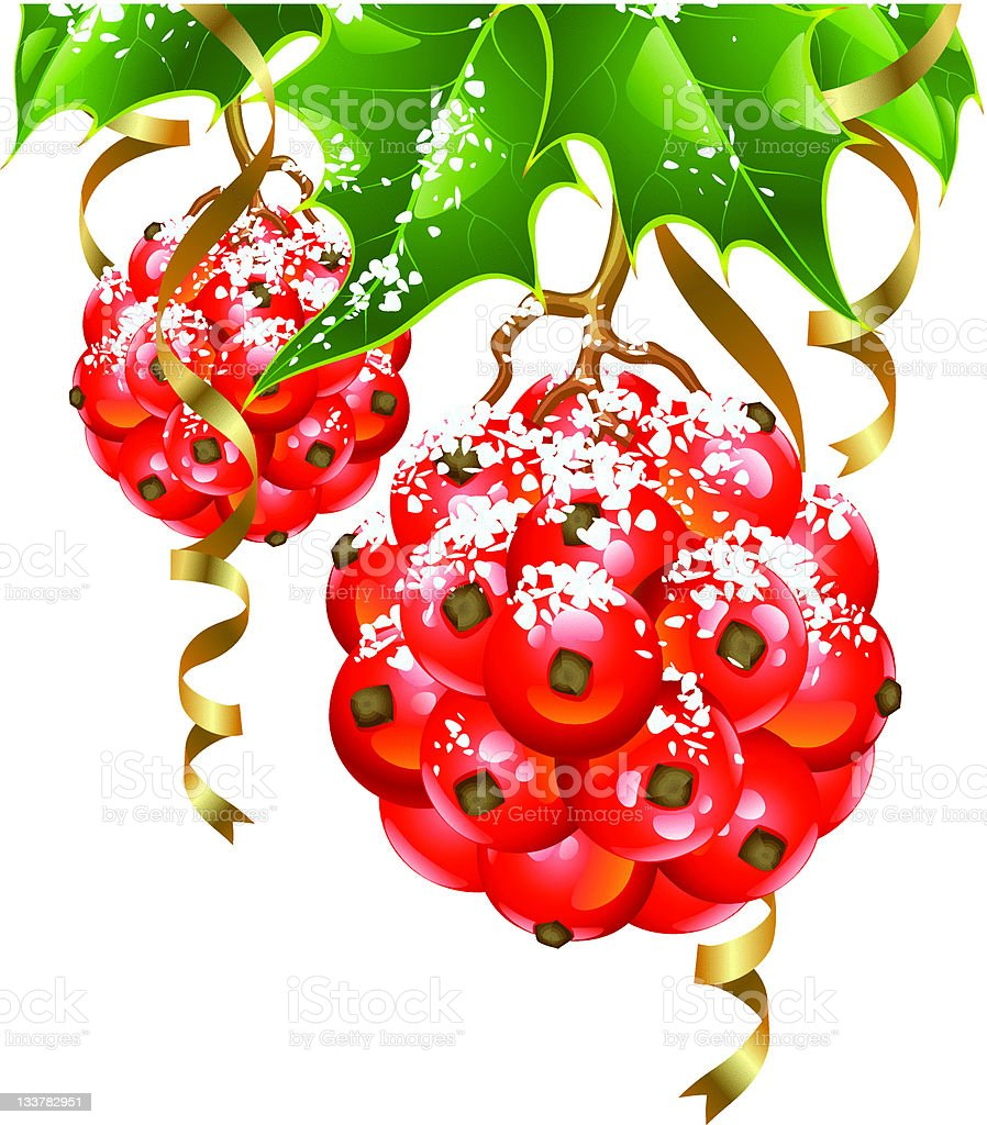 Christmas background. Vector holly in the shape of ball royalty-free stock vector art