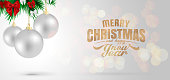Christmas Background with white Christmas balls with blurred bokeh effect