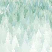 Christmas background with snowed trees and branches. Layered illustration - global colors - easy to edit.
