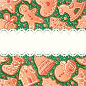 Christmas background with gingerbreads, vector illustration