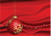 Christmas Ball w golden snowflake patterns in front of silk background...