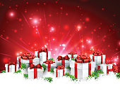 Christmas red background with gifts. Vector Illustration.