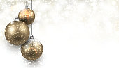 Christmas background with gold balls. Vector Illustration.