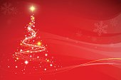 Red Christmas background with Christmas tree, snowflakes and patches of light. EPS 10 file.