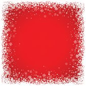 Red winter background with snowflakes. Clear copy space for your text. EPS 10 file.