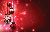 Christmas red background with balls. Vector illustration.
