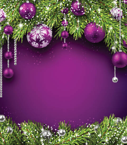 Purple And White Christmas Tree: Best Purple Christmas Tree Illustrations, Royalty-Free