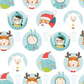 Happy new year vector background. Seamless christmas pattern with santa claus, sheep, bird and cute children.