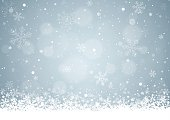 Silver Christmas background with snowflakes and patches of light