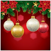 A Christmas baubles background. Elements are layered individually.