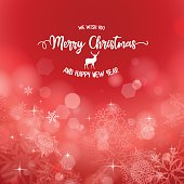 Christmas background with wishes and abstract snowflakes with shiny stars. Global colors used.