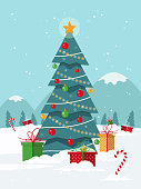 Christmas background with Christmas tree and gifts. Flat design style.