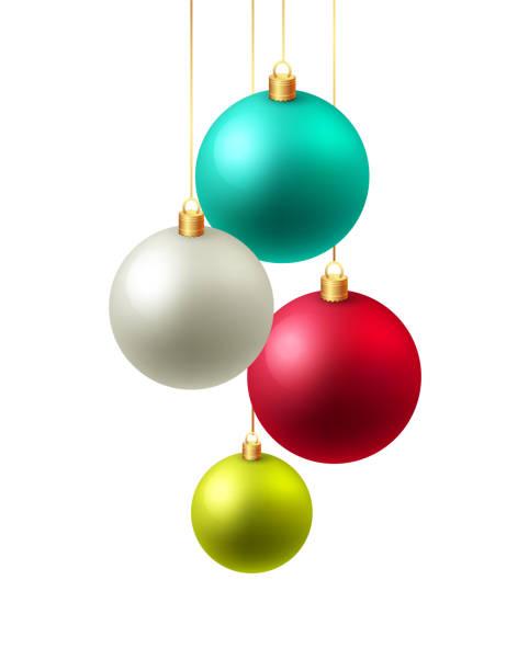 illustrations, cliparts, dessins animés et icônes de christmas background vector illustration. carte de noël avec les boules. - boule de noel